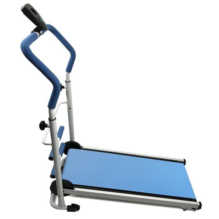 HOMPOT Tapis de course Tapis roulant avec Écran LCD Appareil de Fitness Pliable ( non-électrique ) bleu