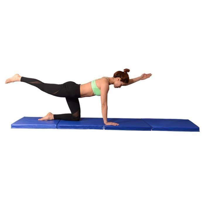 Tapis de Gymnastique Pliable, avec Poignées, Rembourrage en Mousse pour Tapis de Sol, Yoga, Fitness, Matelas de Gym-245x120x5cm-Bleu