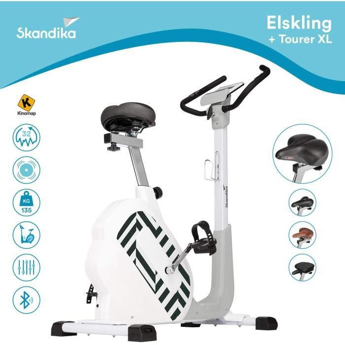 skandika Elskling - Vélo d'appartement - Différentes selles - Inertie 11 kg - 24 Prog. - Support Tablette - Bluetooth - Applications