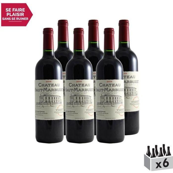Château Haut-Marbuzet Rouge 2016 - Lot de 6x75cl - Appellation AOC Saint-Estèphe - Vin Rouge de Bordeaux - Cépages Cabernet