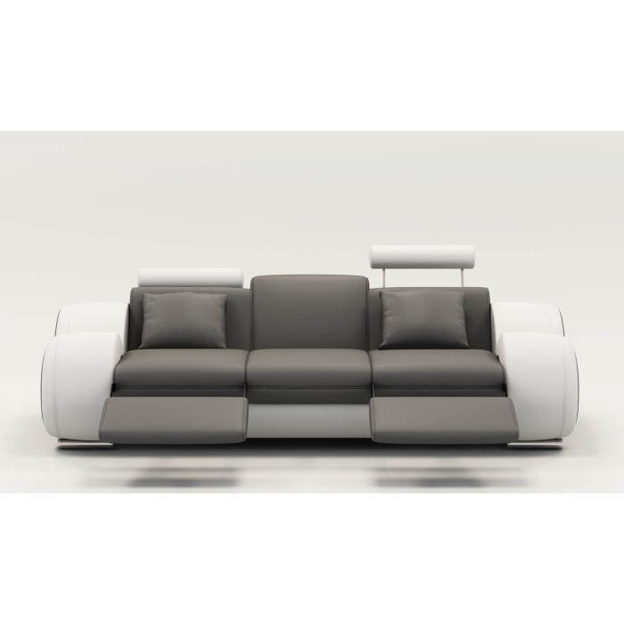 DYDDA - Canapé 3 places relax en cuir gris et blanc