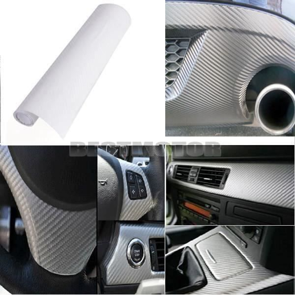 NEUFU Autocollant 3D Film Vinyle Tuning Carbone Thermoformable Adhesif 30x152cm BLANC TU Bi22147