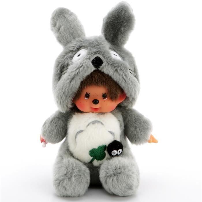 Poupée Kiki Totoro Monchichi Doll Peluche 20cm Gris avec biberon