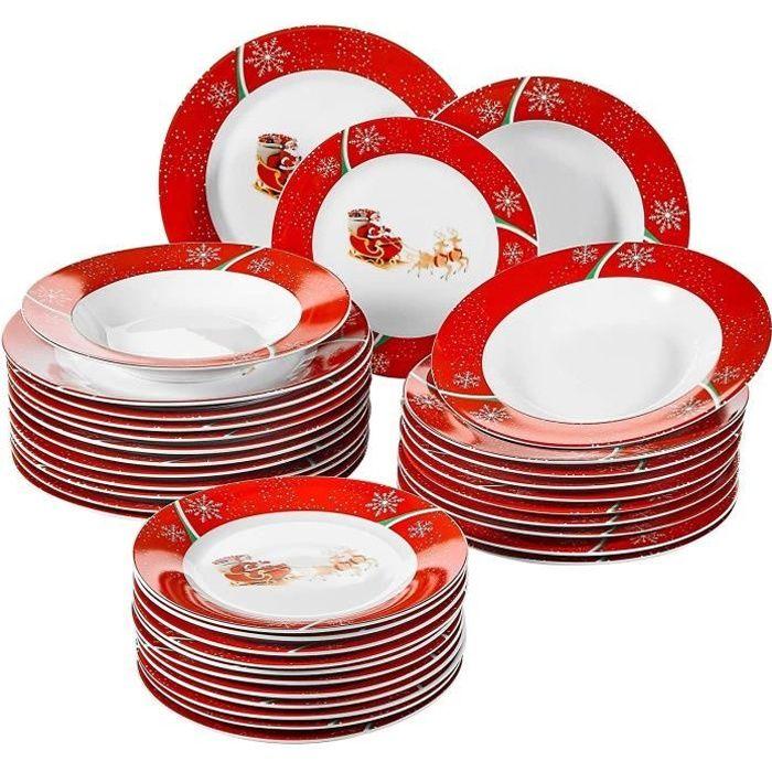 VEWEET, Série Christmasdeer, Service de Table en Porcelaine pour 12 Personnes, 36 pièces, Assietes Plates, Assiettes Creuses, Assiet