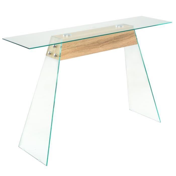 Hot Table Console Table d'Entrée MDF et verre 120 x 30 x 76 cm Couleur de chêne®REJWIO®