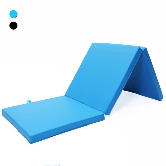ISE Tapis de gymnastique pliable Tapis de Sol 180 x 60 x 5 cm, Matelas de Gym Épais et Pliable pour la Maison Bleu