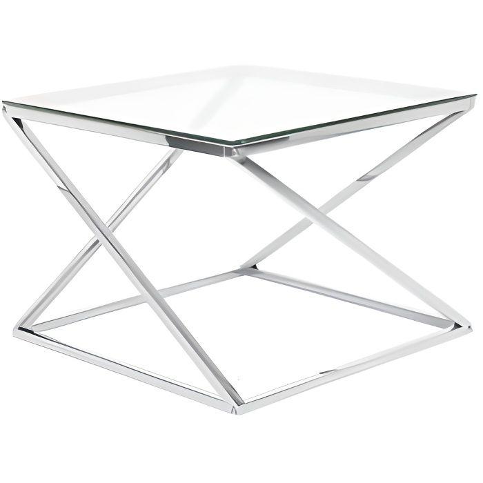 Beliani - Table appoint argentée avec plateau en verre BEVERLY