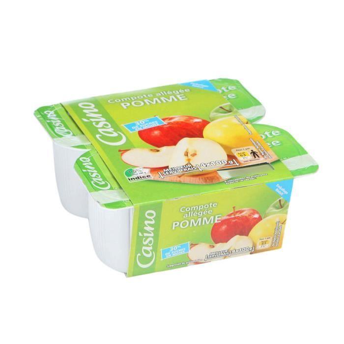 Lot de 4 pots de compote allégée de pomme en sucre - 400 g