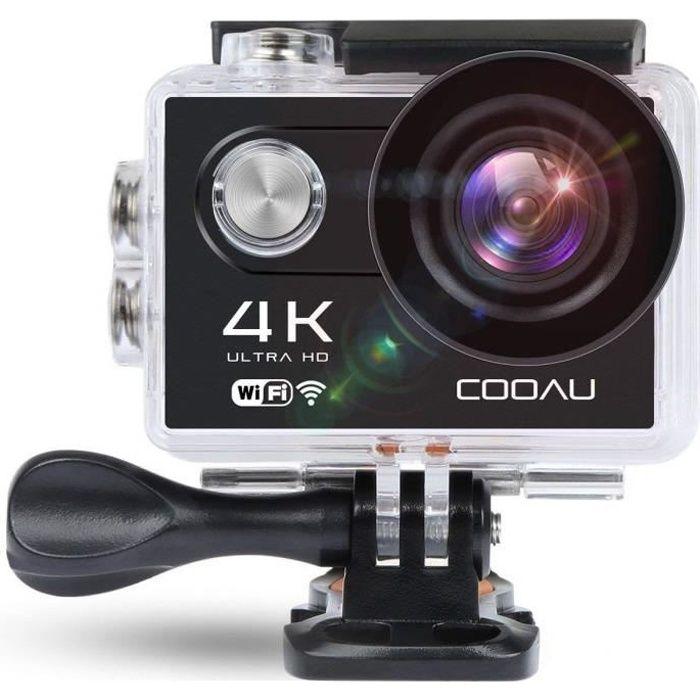 COOAU GoPro Caméra Sport 4K WiFi avec Étanche 30M,170°Ultra HD Wi-Fi 2 - LCD, Batteries Rechargeables 1050mAh et 19 Kit d'Accessoire