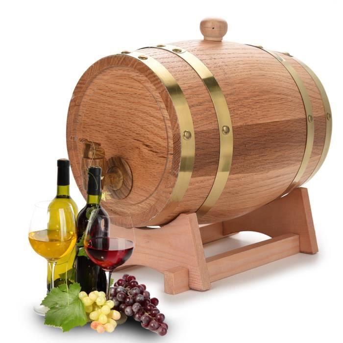 yancuroom Fontaine à boisson Distributeur avec robinet Cave Tonneau de vin Bois 3L