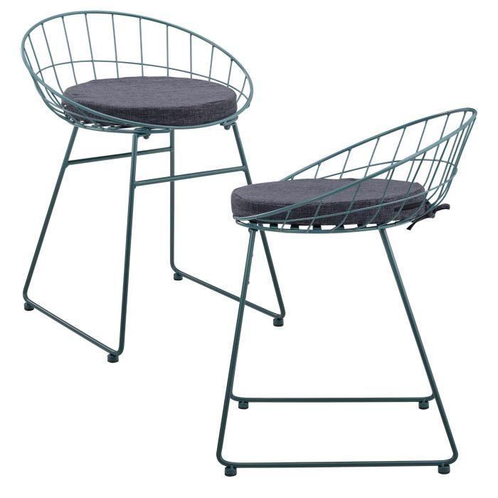 [en.casa]® Set de 2 chaises en métal avec coussin de siége - turquoise