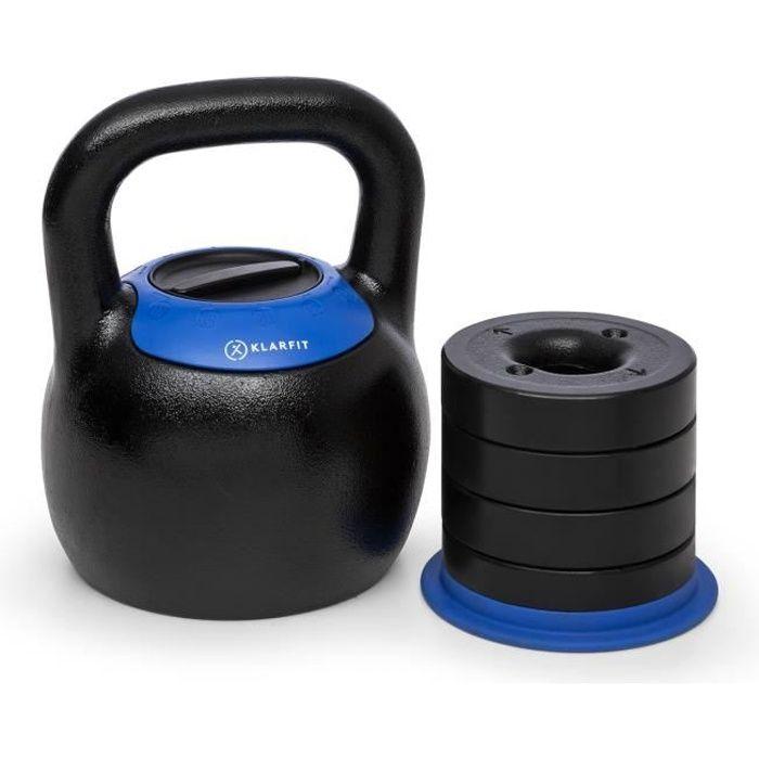 Klarfit Adjustabell Kettlebell réglable pour exercices de musculation - Poids de 16 18 20 22 24 kg - noir& bleu