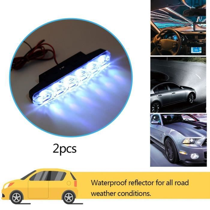 2 x xénon blanc 6 LED super lumineux DRL feux diurnes feux de brouillard 12V