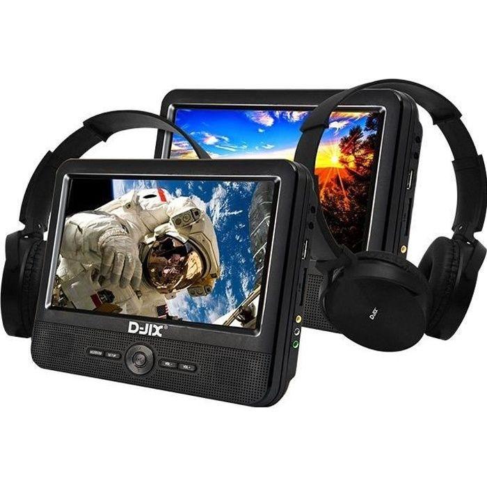 D-JIX PVS906-70DPC Lecteur DVD portable 9- - 2 casques audio filaires - Noir