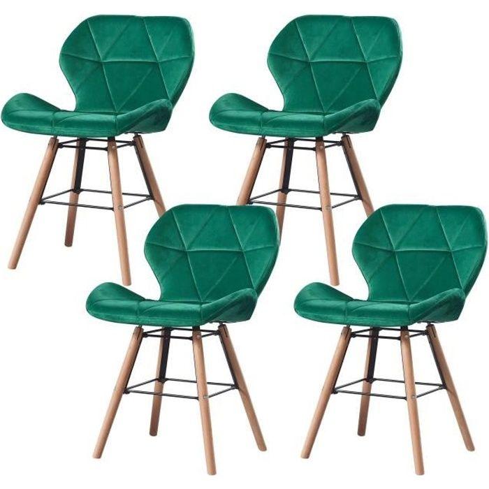 LOUNA - Lot de 4 chaises scandinave - Velours - Vert - pieds en métal design salle a manger salon - 54 x 48 x 73 cm