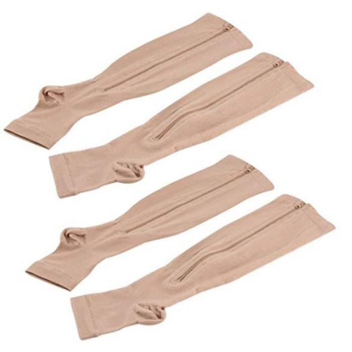 2 Paires de Chaussettes de Compression Pour Hommes - Femmes À Bout Ouvert, Chaussettes Hautes de Maintien Aux Genoux Avec Fermeture