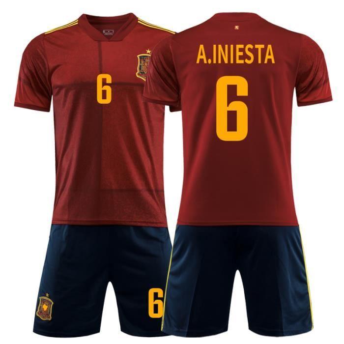 Spain Espagne 2020 Maillot de Foot Football Soccer(Tops + shorts)Suit No.6 ANDRES INIESTA Pas Cher pour Homme