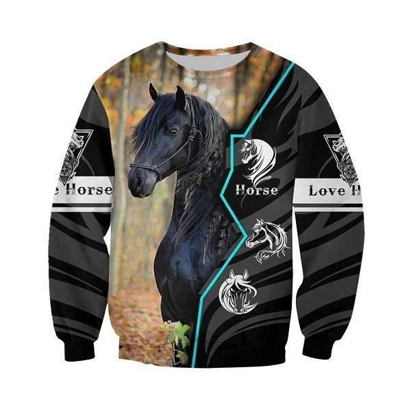 sweatshirt homme capuche,Cheval Design nouveau sweat à capuche Animal amour cheval 3D partout imprimé sweat à capuche décontracté s