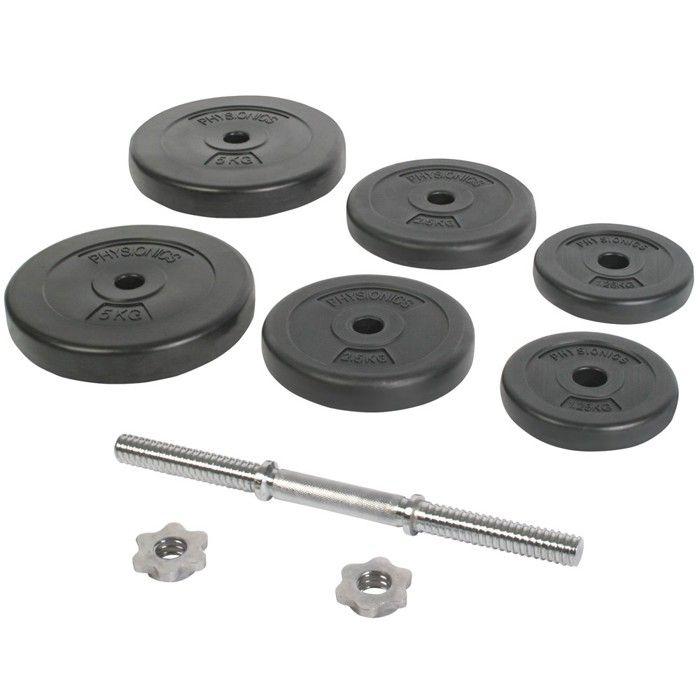 Physionics® Haltère / Poids de Musculation - 20 kg, 6 Disques, Barre Courte Ø25 mm - Disques pour Fitness, Set d'Haltères Courts
