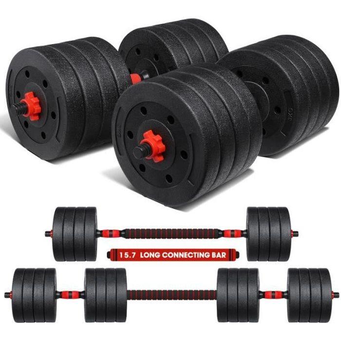 MOVTOTOP 50KG Fitness Bâtiment Muscle Perte de poids Dumbbell Ensemble d'outils barre - haltere - poids fitness - musculation