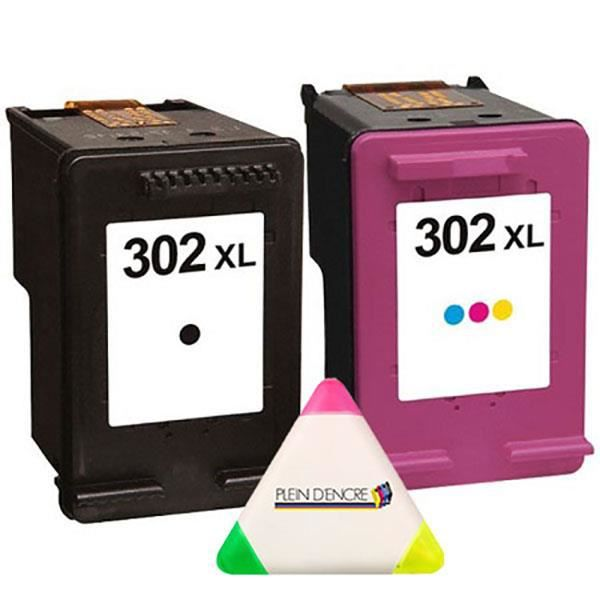 Pack 2 cartouches N° 302 XL 302XL Noire et Couleur pour imprimante HP Envy 4521