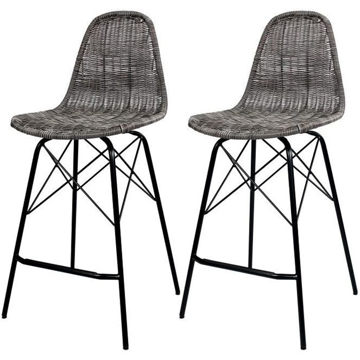 Chaise de bar Tiptur en résine tressée grise 63 cm (lot de 2)