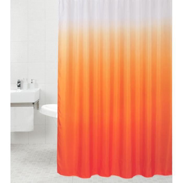 Rideau de douche Orange 180 x 200 cm - de haute qualité - 12 anneaux inclus - imperméable - effet anti-moisissures