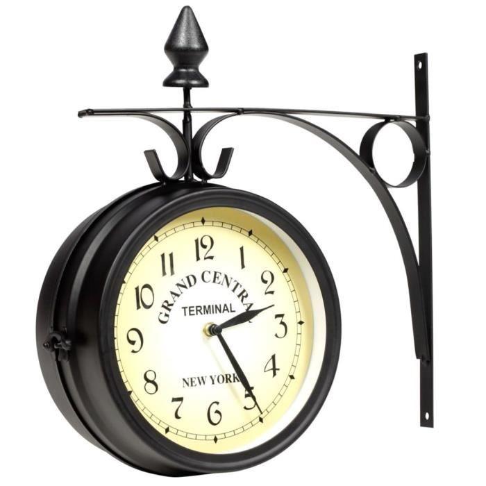 Horloge de gare retro double face New York Noir