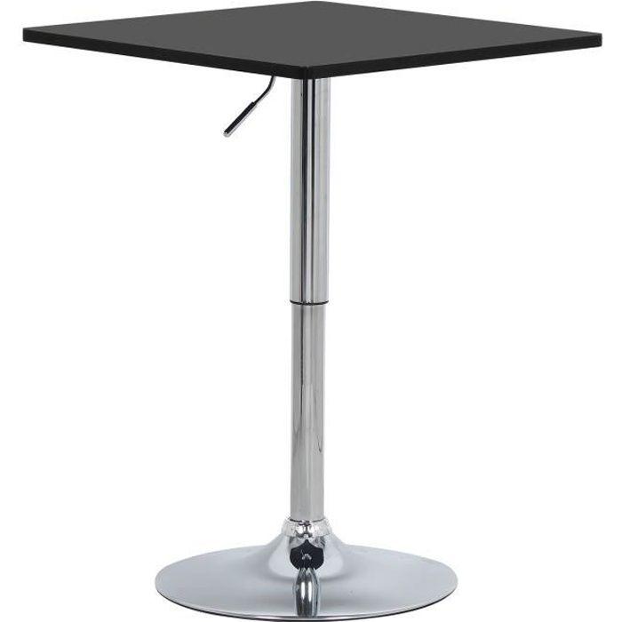 WOLTU Table de bar en MDF avec pied, Table carrée, Hauteur réglable, 60 X 60cm, Noir