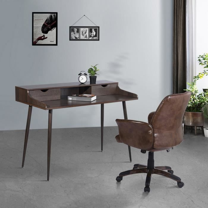 BUREAU  FurnitureR Bureau droit Scandinave en MDF Marron P