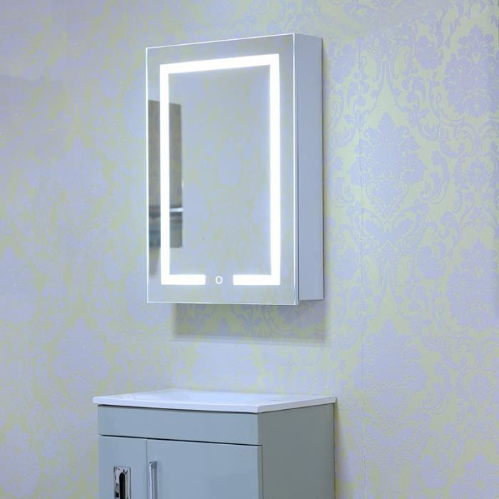led miroir lumineux salle de bains avec casier r tro. Black Bedroom Furniture Sets. Home Design Ideas