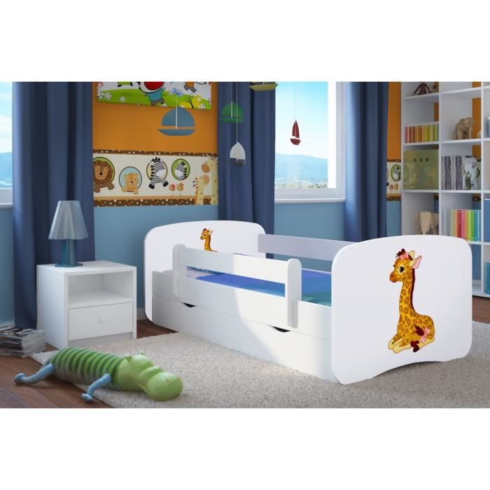lit enfant avec barriere de securite et 1 grand tiroir girafe blanc achat vente ensemble. Black Bedroom Furniture Sets. Home Design Ideas