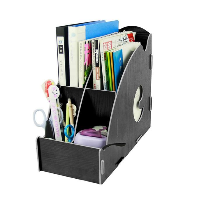 bo te de rangement bureau classement papier a4 dossier document tag re en bois panier bo te. Black Bedroom Furniture Sets. Home Design Ideas