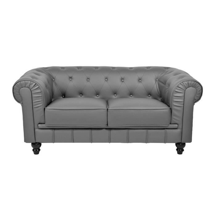 Canap chesterfield gris 2 place achat vente canap sofa divan simili - Canape chesterfield gris ...