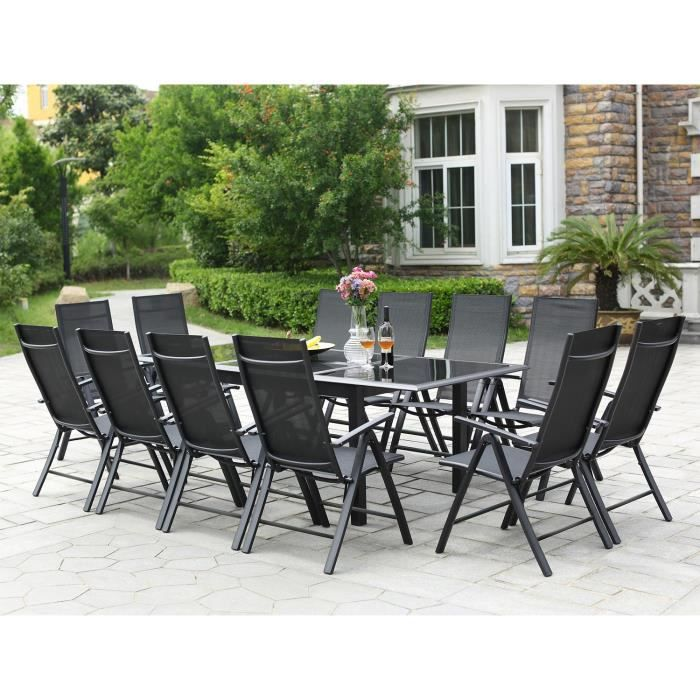 Ravenne 12 salon de jardin en aluminium 12 places gris for Table exterieur avec rallonge