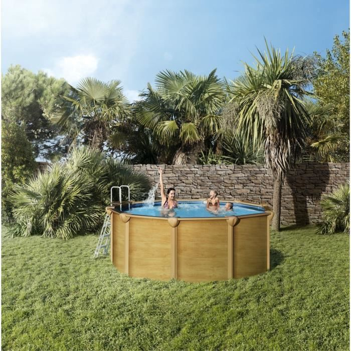 trigano piscine ronde en m tal 5 85x1 32m marron achat vente piscine piscine ronde en. Black Bedroom Furniture Sets. Home Design Ideas