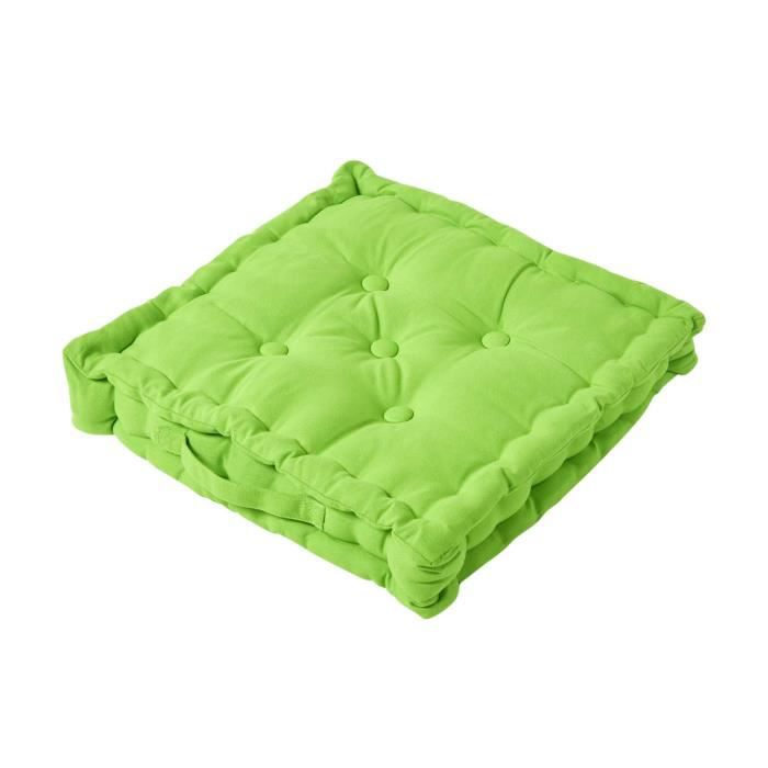 coussin de sol vert citron uni 50 x 50 cm achat vente coussin cdiscount. Black Bedroom Furniture Sets. Home Design Ideas