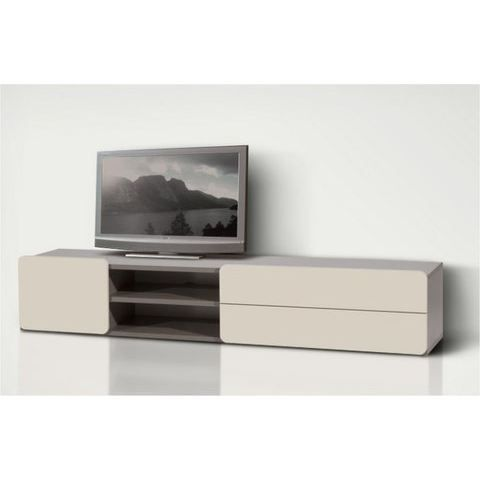 meuble tv bas 180 cm 2pir beige meuble tv des achat. Black Bedroom Furniture Sets. Home Design Ideas