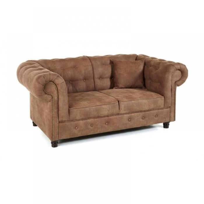 Canap fixe 2 places oxford chesterfield cuivr vintage for Canape 2 places vintage