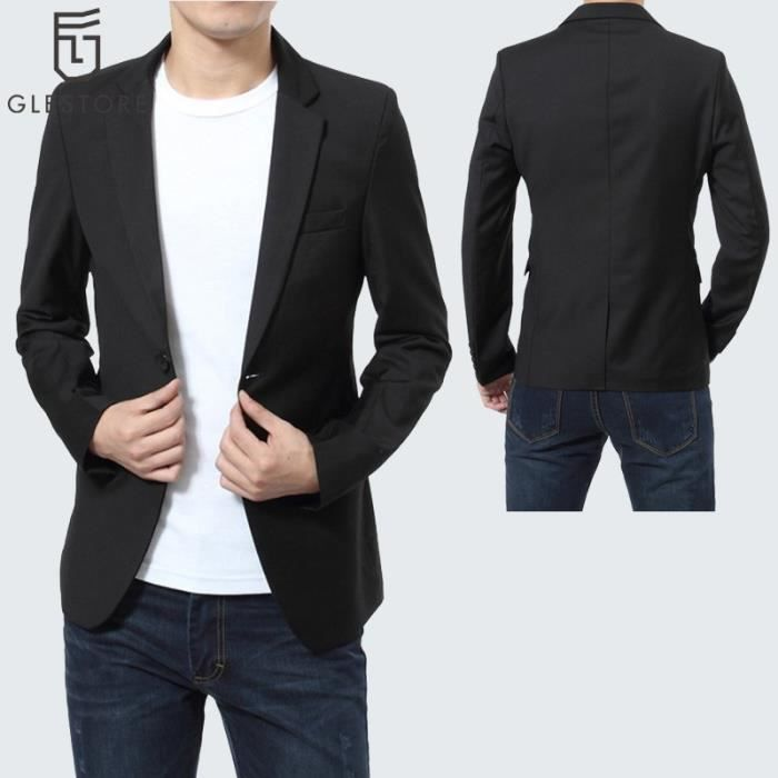 glestore costume homme blazer homme noir noir achat vente veste cdiscount. Black Bedroom Furniture Sets. Home Design Ideas
