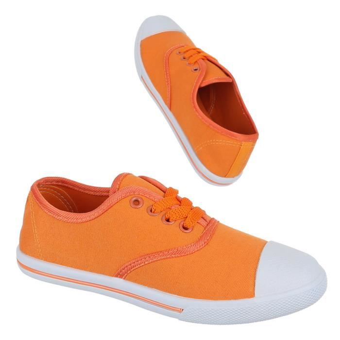 Femme chaussures loisirs chaussures lacer chaussures de sport Sneakers Orange 41 8Wz4WwMluP