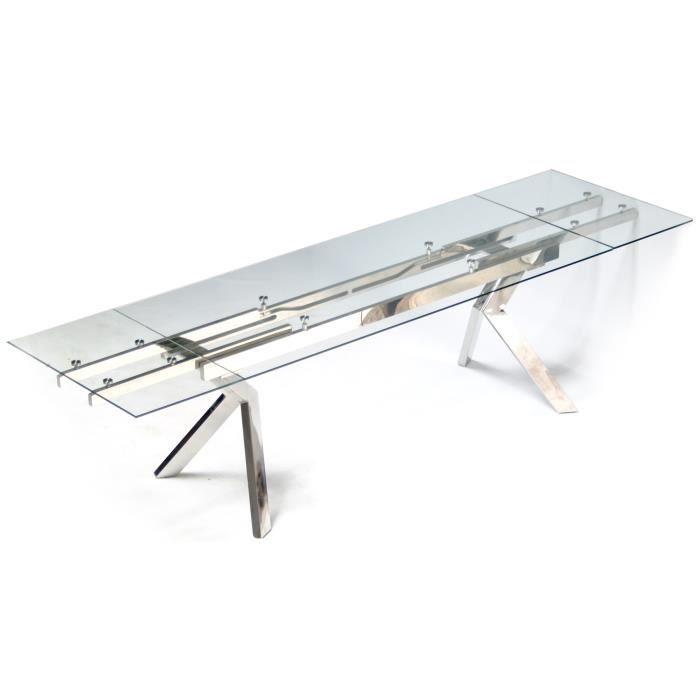 Table En Verre Et Pieds En Acier Metallia 160 240x90