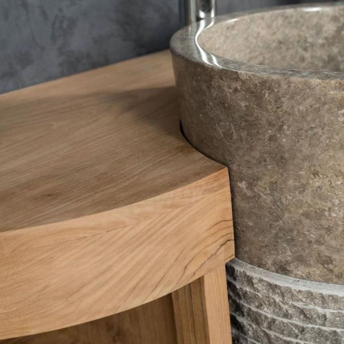 Habiller L Arrière D Un Meuble meuble de salle de bain en teck florence 120cm + vasque gris