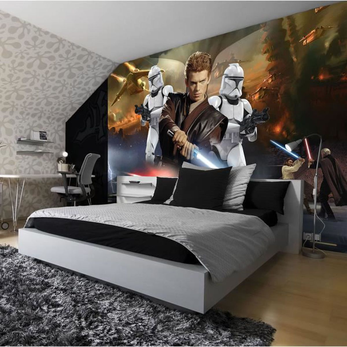 papier peint star wars 152 5 x 104 cm fresque murale attack of the clones achat vente. Black Bedroom Furniture Sets. Home Design Ideas