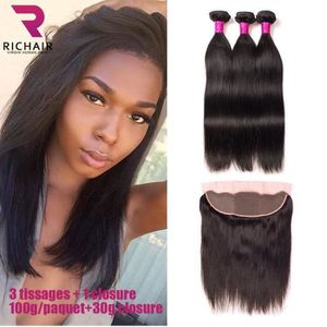 PERRUQUE - POSTICHE lot 3 tissage bresilien lisse + closure 7A cheveux