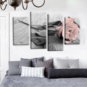 TABLEAU - TOILE TEMSPA 4Pcs Tableau de Toile Mural Rose Sans Cadre