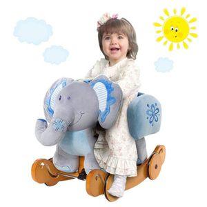 JOUET À BASCULE Cheval à Bascule bleu Eléphant Bascule avec  roues