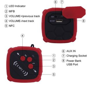 ENCEINTE NOMADE Rouge-Portable Haut-parleur de musique stéréo 3D s
