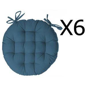 COUSSIN DE CHAISE  Lot de 6 galettes de chaise ronde en coton coloris