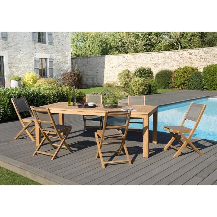 Ensemble de jardin en teck : 1 table à manger Vieste 220 x 100 cm, couleur naturelle - 3 lots de 2 chaises pliantes en textilène JAR